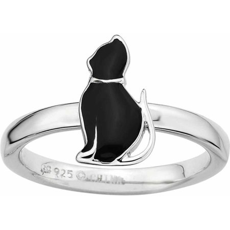 Black White Enamel Rhodium Ring - Sterling Silver Black Enameled Cat Ring