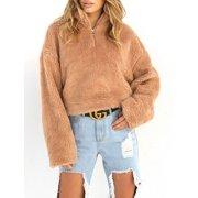 f01eaa6fd5 Women Winter Warm Fluffy Sweater Coat Fleece Fur Jacket Stand Neck Zipper  Outerwear Pullover Jumper Long