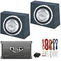 """2) BOSS AUDIO CX122 12"""" 1400W Car Subwoofers + Sealed Boxes + Amplifier+ Wiring"""