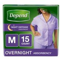 Depend Night Defense Incontinence Overnight Underwear for Women, M, 15 Ct