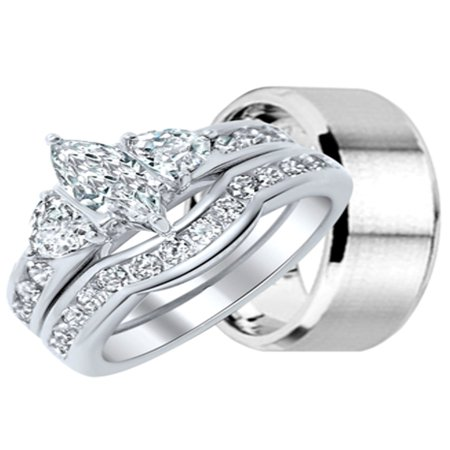 His and Hers Wedding Ring Set Matching Wedding Bands for Him and Her
