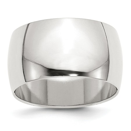 12mm Band Ring - 925 Sterling Silver 12mm Half Round Wedding Band Ring
