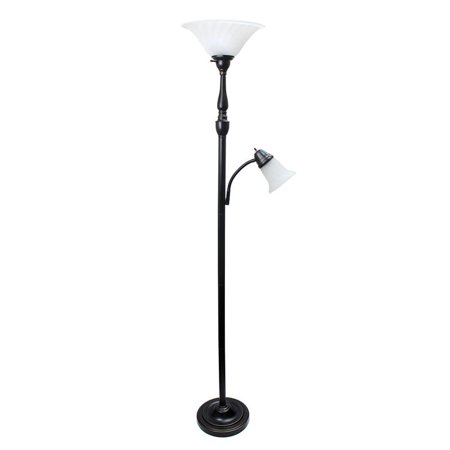 - 2 Light Mother Daughter Floor Lamp with White Marble Glass