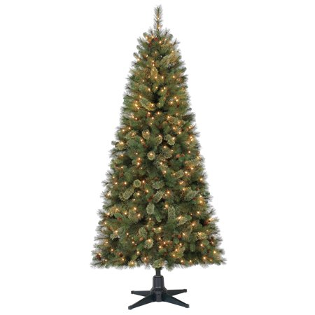 Royal Fir Tree - Holiday Time 7ft Pre-Lit Brookfield Fir Cashmere Quick Set Artificial Christmas Tree with 350 Clear Lights - Green