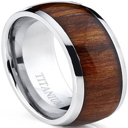 - Men's Titanium Ring Wedding Band, Engagement Ring with Real Wood Inlay, 8mm Comfort Fit Sizes 6 to 13