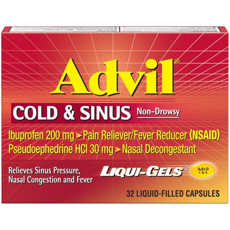 Advil® Cold & Sinus Non-Drowsy Pain Reliever/Fever Reducer & Decongestant Liqui-Gels 32 ct Box