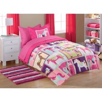 Mainstays Kids' Coordinated Bed in a Bag, Pink Horsey
