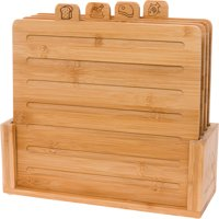 Mindful Design 4 Piece Bamboo Index Cutting Chopping Board Set with Stand