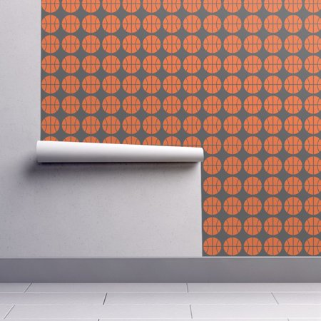 Peel-and-Stick Removable Wallpaper Basketball Basketball Orange Gray Sports