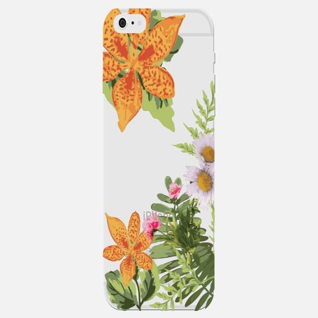 Daisy Orange Exotic Flower Fern Leaves Floral Pattern Stylish Design Clear Phone Case - For Apple iPhone 6s Plus Phone