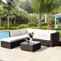 Costway 4 PCS Outdoor Patio Rattan Wicker Furniture Set Loveseat Cushioned Yard Garden