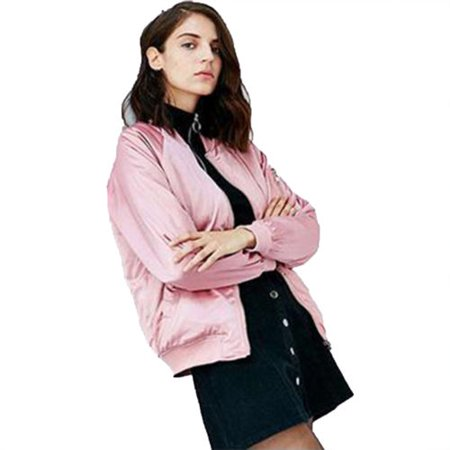 Womens Satin Bomber Jacket Vintage Coat Flight Army Biker Retro Zip Up Outwear Collarless Tops Coats Of Arms Stein