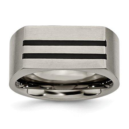White Enameled Ring Band - Mia Diamonds Titanium 10mm Black Enamel Stripes Brushed Wedding Engagement Band Ring Size - 11.5