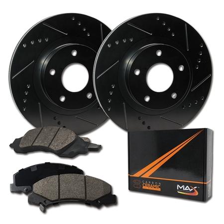 Max Brakes Rear Elite Brake Kit [ E-Coated Slotted Drilled Rotors + Ceramic Pads ] KT020282 | Fits: 2003 03 Audi A6 2WD; Non Quattro Models - image 8 de 8