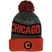 Chicago C Patch Ribbed Cuff Knit Winter Hat Pom Beanie (Red Black Patch) 0f599a07737