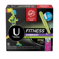 U by Kotex Fitness Tampons with FITPAK, Super Absorbency, Unscented 15 Count