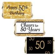 50th Birthday Candy Wrapper Stickers 54ct