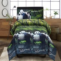 3 Piece 3D Comforter Set -3D Panda Mom And Kids Printed Comforter Set Queen Size (Y29) - Box Stitched, Soft, Breathable, Hypoallergenic, Fade Resistant - 1pc 3D Queen Comforter, 2pcs 3D print Shams