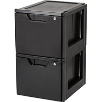 IRIS Letter Size Stacking File Drawer with Lock, Black
