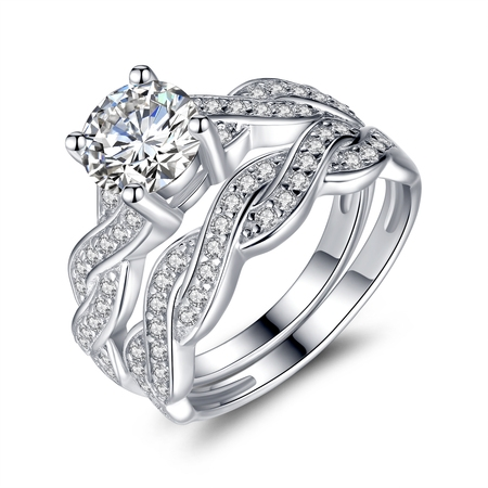 Cut Bridal Ring Set (1.28 Carat TCW Round Cut CZ 925 Sterling Silver Wedding Rings Bridal Set)