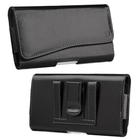 Luxmo Executive Series Case for Samsung Galaxy Note 9, PU Leather Stitching Phone Holster Wallet Carrying Pouch with Inner Card Slot and Atom Cloth for Samsung Galaxy Note 9 - Black