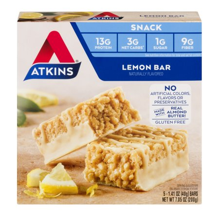 Atkins Lemon Bar, 1.41oz, 5-pack (Snack Bar)
