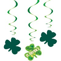 St. Patrick's Day Argyle Hanging Decorations, 26in, 3ct