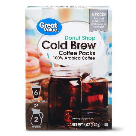 Great Value Cold Brew Coffee Packs, Donut Shop, 6 oz, 6 (Best Coffee Cold Brew System)