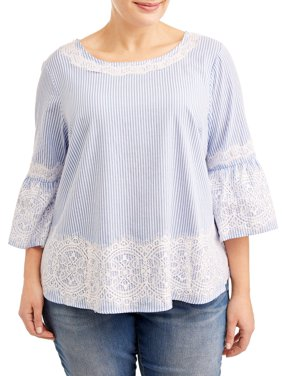 Women's Plus Sized Lace Ruffle Sleeve Blouse