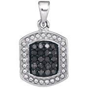 10K White Gold 0.20ctw Shiny Micro Pave Black Diamond Hexagon Fashion Pendant