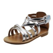 d7a8b77c525fd Stepping Stones Little Girls Gladiator Silver Sandals Girls Strappy Sandals  For Casual or Dress Size 5