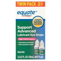 Equate Support Advanced High Performance Lubricant Eye Drops, 0.5 oz, 2 Pack