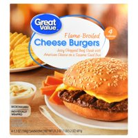 Great Value Flame-Broiled Cheese Burgers, 4 - 5.53 oz burgers