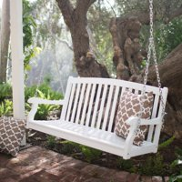 Coral Coast Pleasant Bay 4 ft. White Curved Back Porch Swing with Optional Cushion