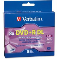 Verbatim, VER95311, AZO 8.5GB DVD+R DL Media Slim Case, 5, Purple