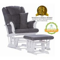 Storkcraft Tuscany Glider and Ottoman with Lumbar Pillow White with Gray Cushions