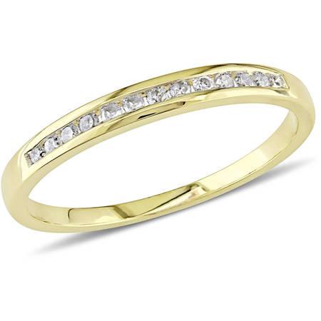 1/8 Carat T.W. Diamond 10kt Yellow Gold Semi-Eternity Wedding Band Crossover Diamond Wedding Band