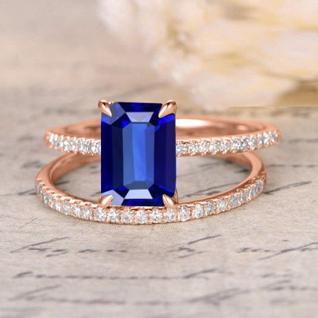 1.50 carat Blue Sapphire and diamond Halo Bridal Set in 10k Rose Gold: On Under Dollar (Best Crossbow Under 400 Dollars)