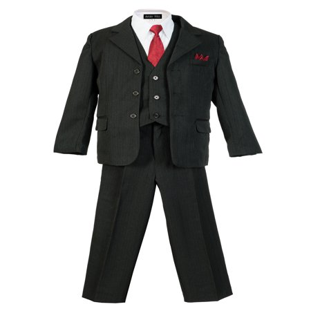 Avery Hill Boys Pinstripe Suit Set with Matching Tie](Boys Wool Suits)
