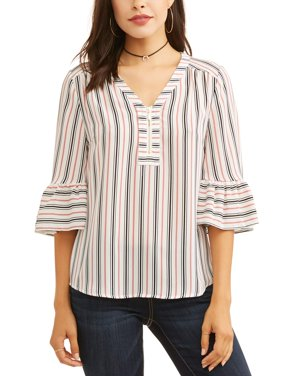 Women's Zip Front Bell Sleeve Top