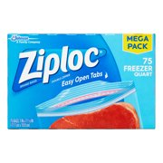 Ziploc Double Zipper Freezer Bags, Quart, 75 Ct