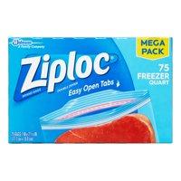 Ziploc Pinch & Seal Freezer Bags, Quart, 75 Count