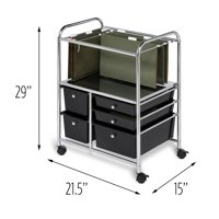 Honey Can Do 5-Drawer Hanging File Rolling Cart, Chrome/Black
