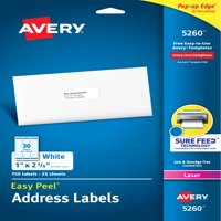 "Avery Easy Peel Address Labels, Sure Feed Technology, Permanent Adhesive, 1"" x 2-5/8"", 750 Labels (5260)"