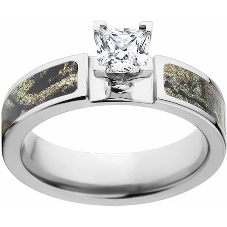Break Up Infinity Camo 1 Carat T.G.W. Princess CZ in 14kt White Gold Prong Setting Cobalt Engagement Ring with Polished Edges and Deluxe Comfort Fit