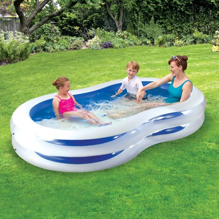 Play Day 8' Plastic Inflatable Family Swimming Pool, Blue and White - Kids Blow Up Pool