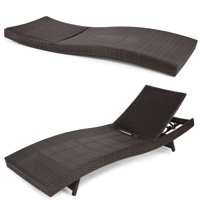 Best Choice Products Adjustable Modern Wicker Chaise Lounge Chair for Pool, Patio, Outdoor w/ Folding Legs - Brown