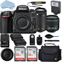 Nikon D750 DSLR Camera with AF-P DX 18-55mm and 70-300mm NIKKOR Zoom Lens + 2 Piece 32GB Sandisk Memory Cards + Professional Accessory Bundle