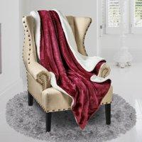 """Genteele Super Soft Luxurious Sherpa Throw Blanket, 50"""" X 60"""", Rich Burgundy Red"""
