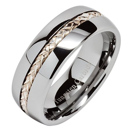 Silver Inlay Tungsten Ring - 8mm Men's Tungsten Carbide Ring Silver Rope Inlay Wedding Band Size 8-15 Comfort Fit